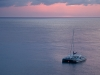 Catamaran at sunset.
